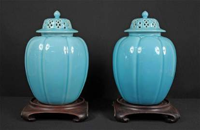 Pair Rookwood Turquoise Three Part Ginger Jars