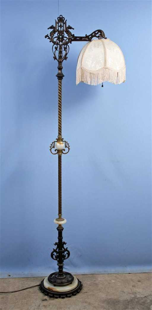 Rembrandt Floor Lamp w/ Onyx and Seahorse Decor