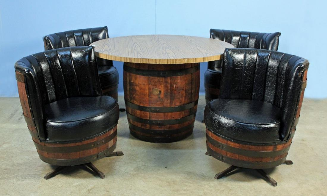 & Jack Daniels Whiskey Barrel Table u0026 4 Chairs