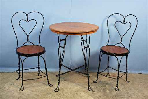 Wrought Iron Soda Fountain Table And Two Chairs Placeholder