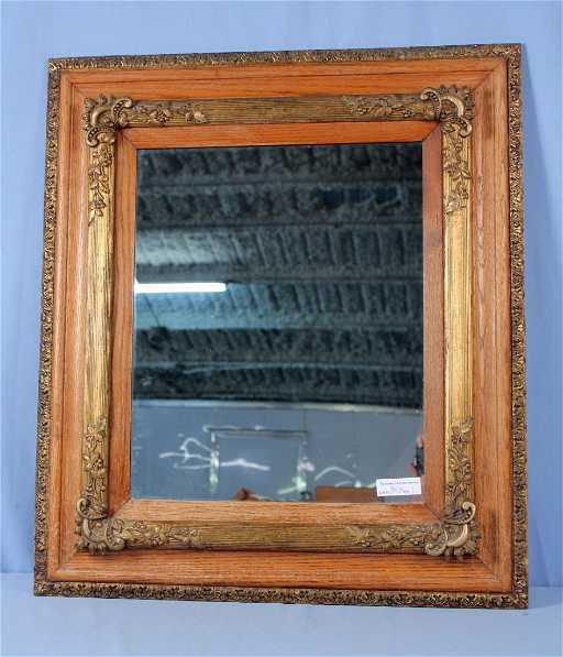 Fancy Oak And Gesso 18 X 22 Frame With Mirror