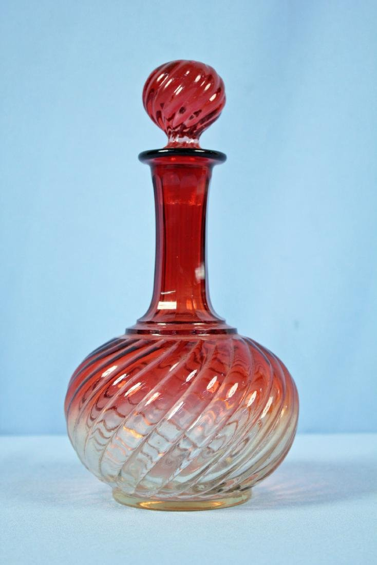 Baccarat Amberina Swirl Glass Liquor Decanter