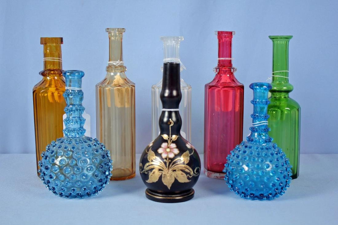 Group of 8 Barber's Bottles, Various Colors