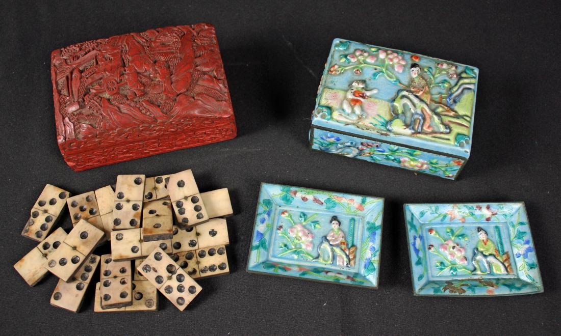 Chinese Cinnabar Lacquer Box and Enamel Box
