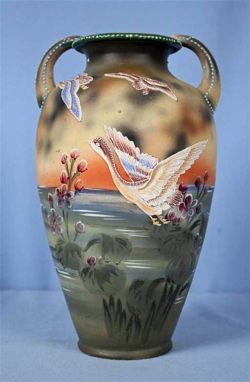 Nippon Hand Painted Moriage Vase W Flying Geese