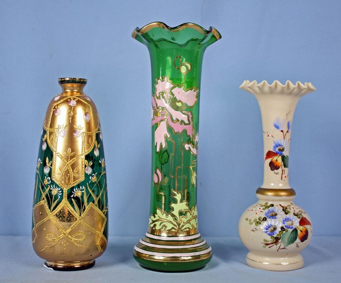 Two Moser Style Enameled Vases & Bristol Vase
