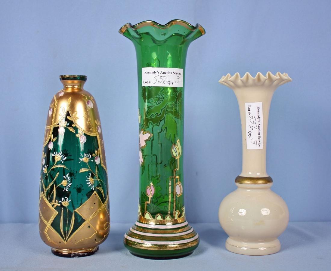 Two Moser Style Enameled Vases & Bristol Vase - 2