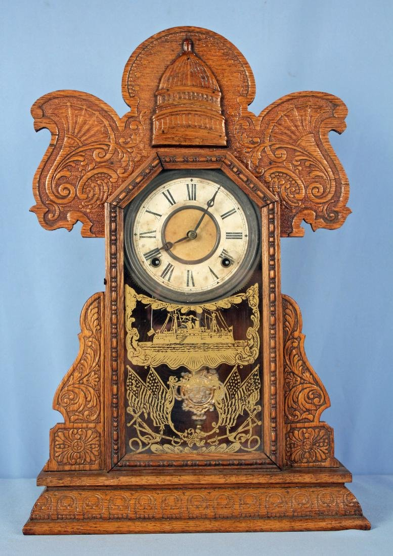 Ingraham Old Dominion Oak Clock w/ Capital Dome