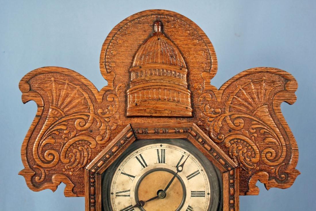 Ingraham Old Dominion Oak Clock w/ Capital Dome - 2
