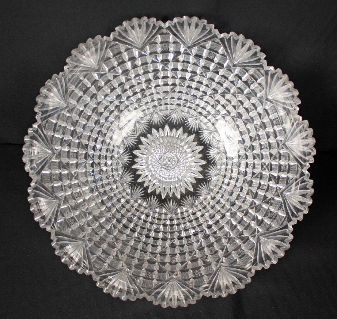 Beautiful Large Cut Glass 15.5 Inch Punch Bowl
