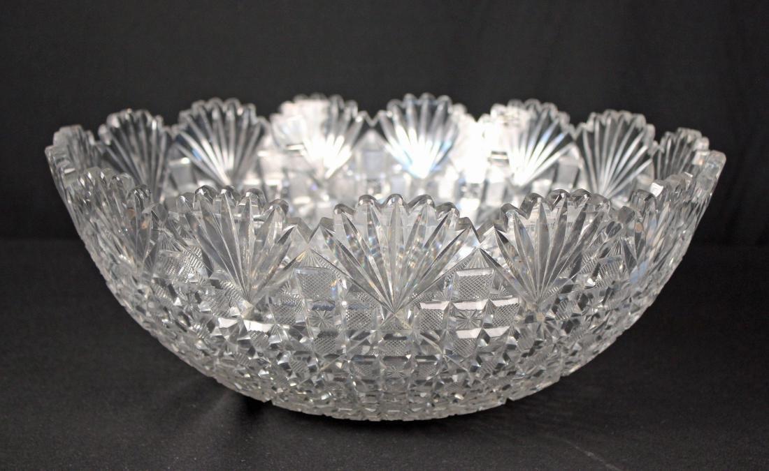 Beautiful Large Cut Glass 15.5 Inch Punch Bowl - 2