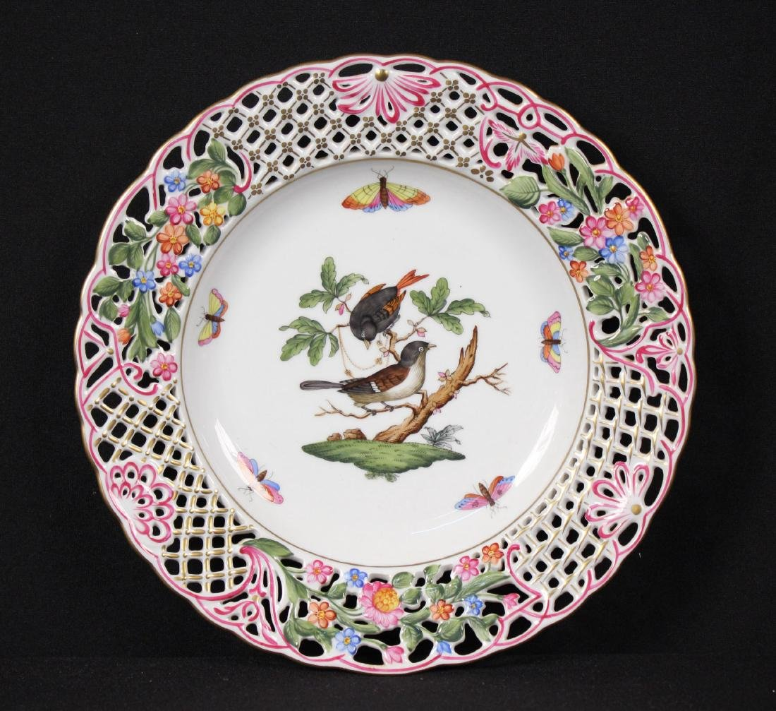 Herend Rothschild (RO) 8434 Reticulated Bird Plate