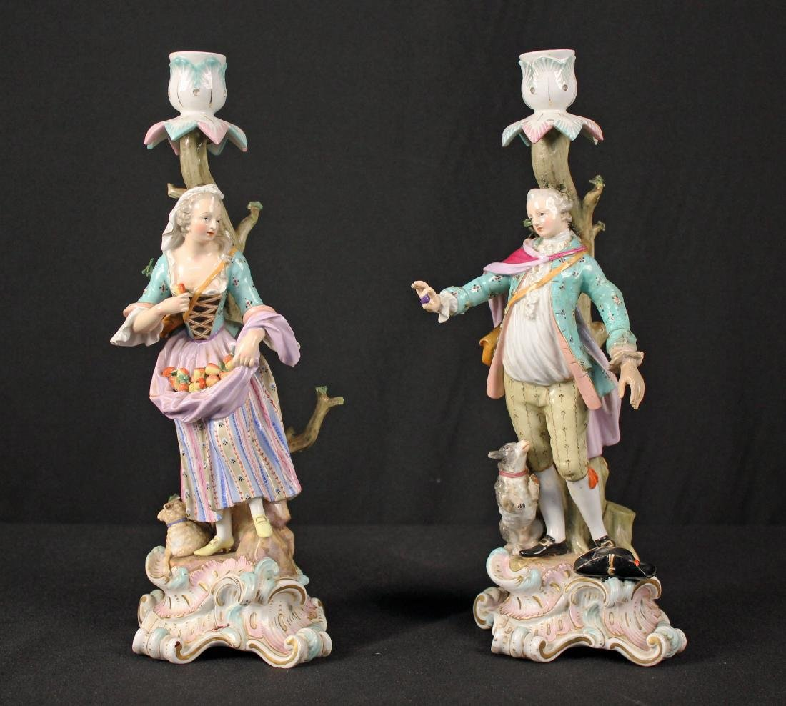Pr. of 19th Century Meissen Figural Candle Holders