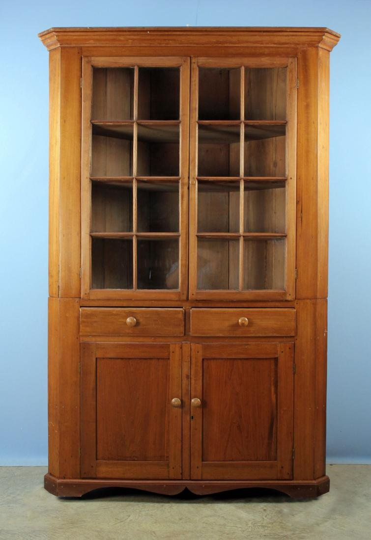 19th C. Two Part Corner Cabinet w/ Glazed Doors