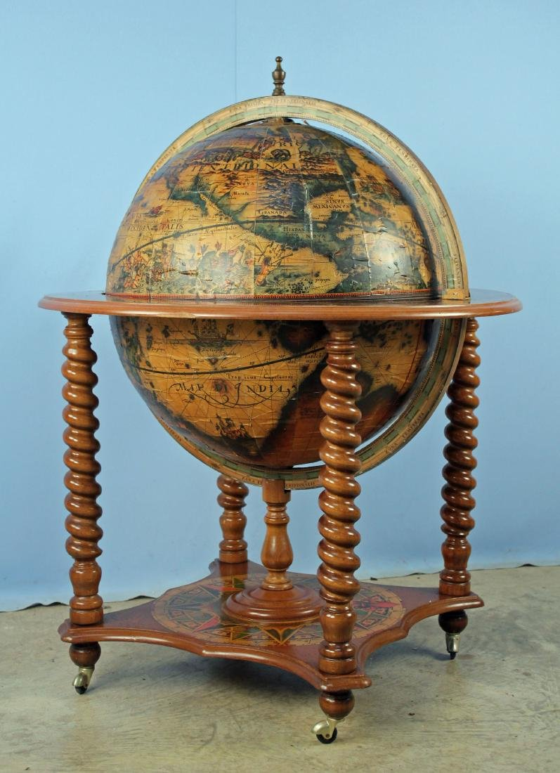 Mid 20th C World Globe Bar Cart