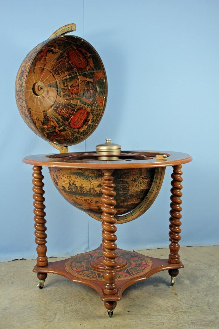 Mid 20th C World Globe Bar Cart - 2