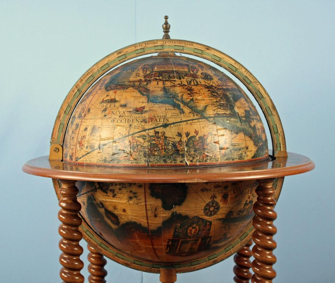 Mid 20th C World Globe Bar Cart - 8
