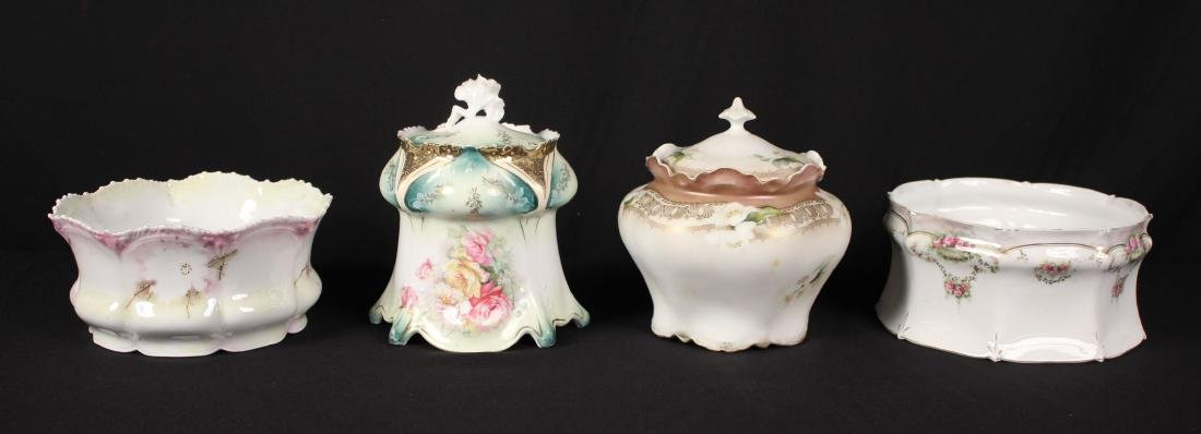 Two R.S. Prussia Biscuit Jars & Two Ferners