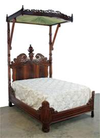 C. 1850 Half Tester Bed w/ Carved U.S. Gov. Shield