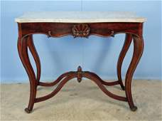 Mid 19th Century Walnut Marble Top Console Table