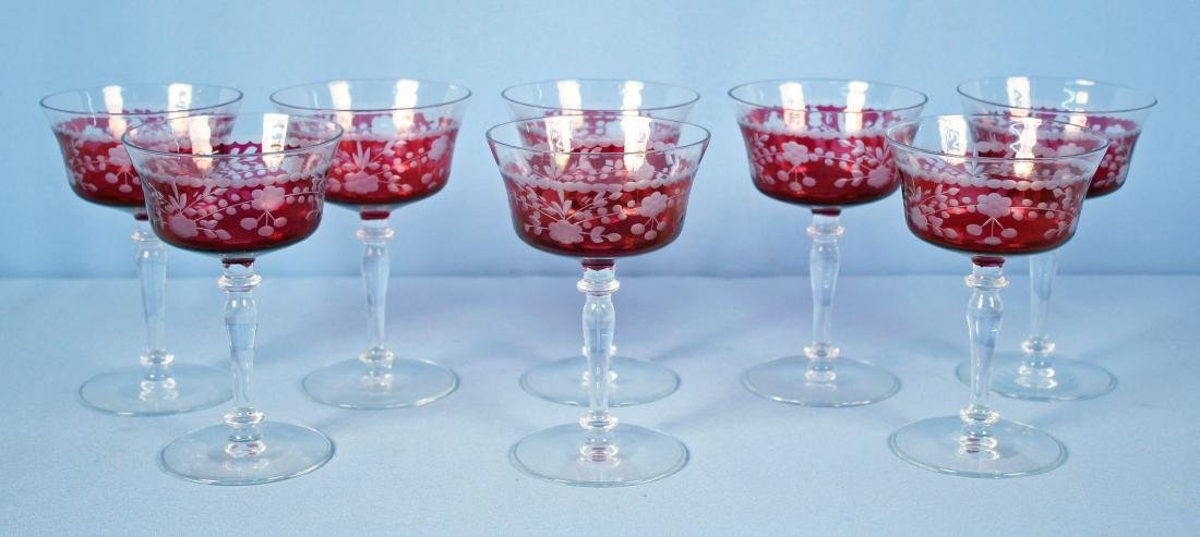 Set of 8 Cranberry Cut to Clear Wine Stems