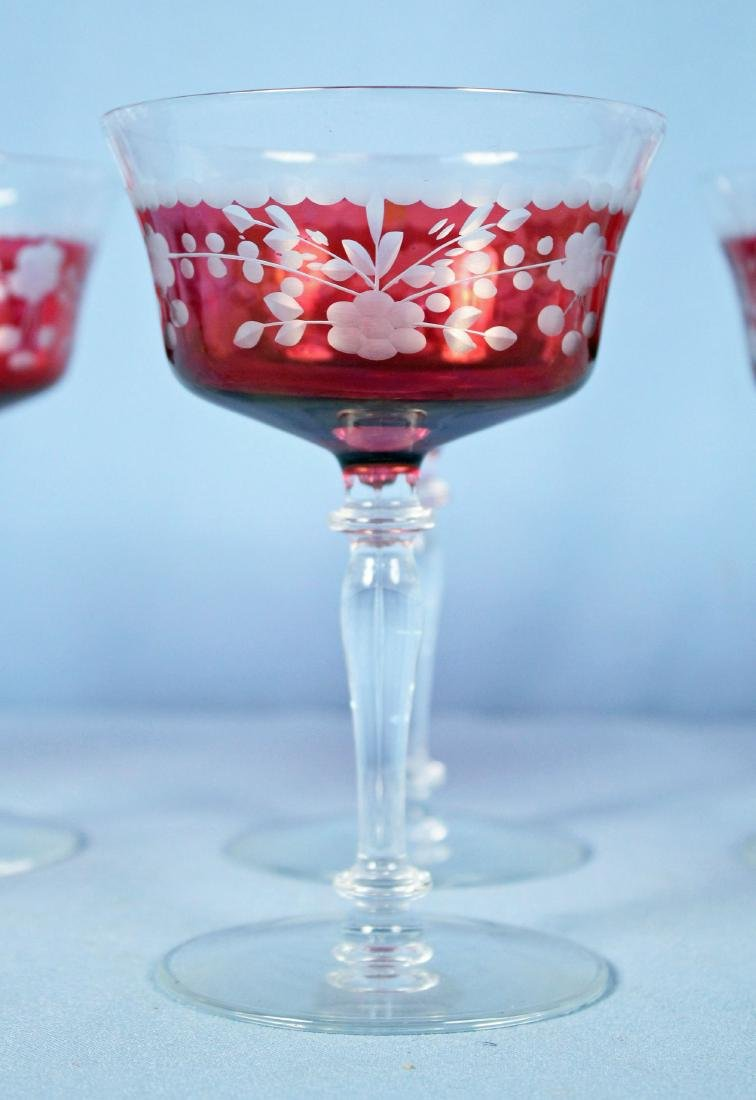 Set of 8 Cranberry Cut to Clear Wine Stems - 2