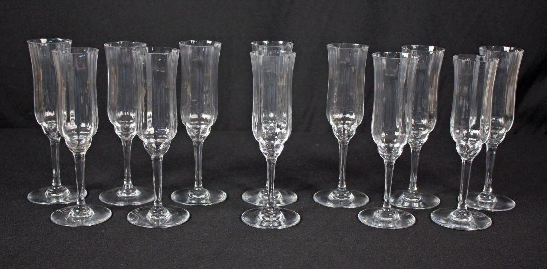 9 Baccarat Capri Optic Champagne Toasting Flutes