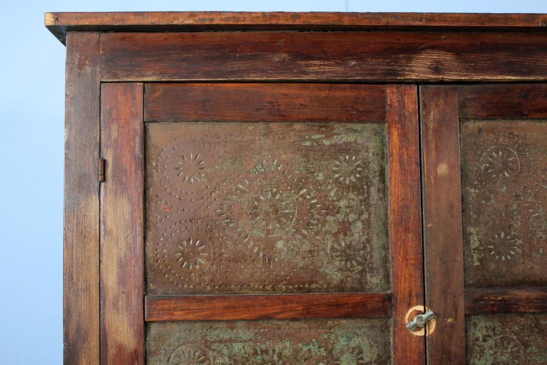Twelve Tin Pie Safe With Drawer Circa 1880 - 2