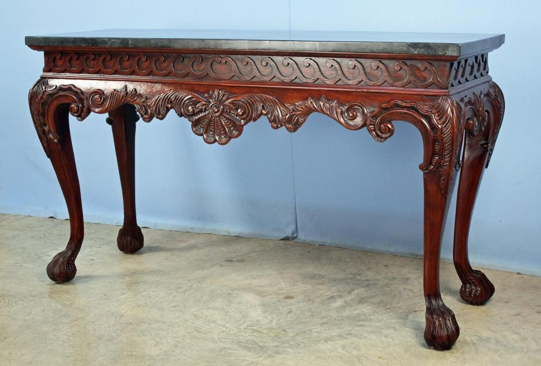 Maitland Smith Style Marble Top Console Table