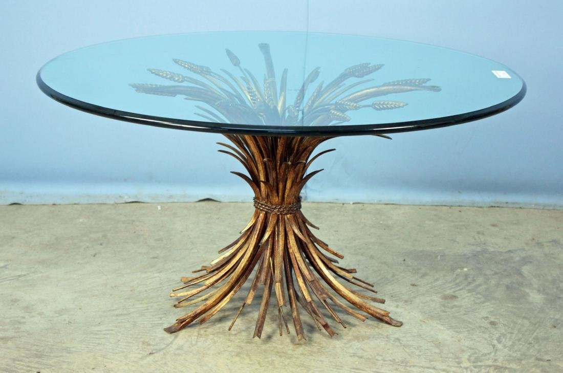 Mid Century Modern Cattails & Glass Coffee Table