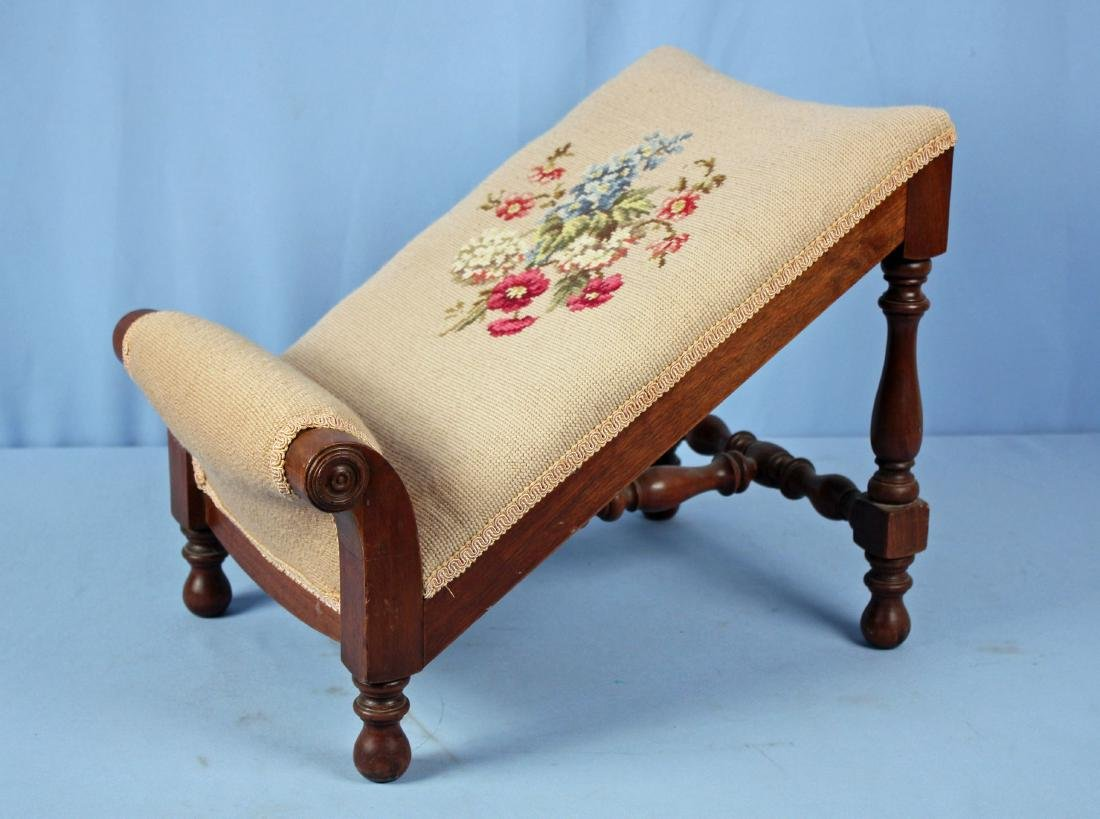 19th Century Walnut Gout Stool with Needlepoint