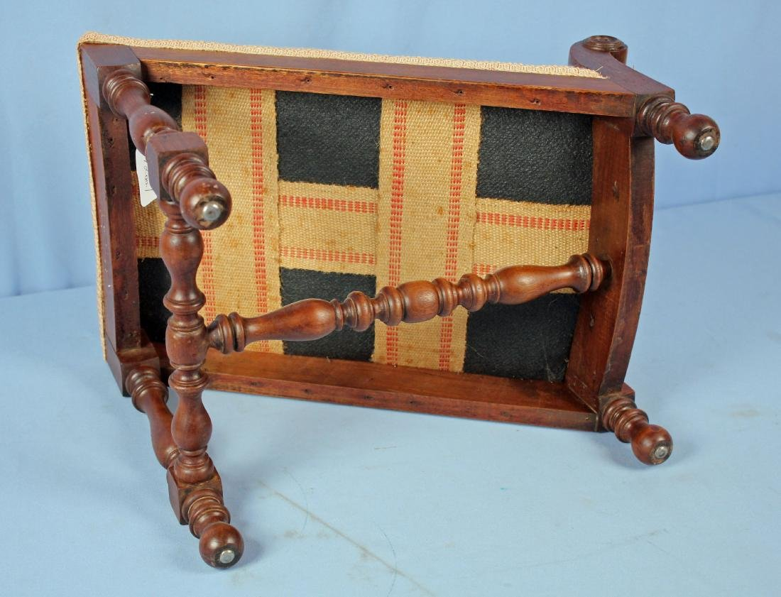 19th Century Walnut Gout Stool with Needlepoint - 3
