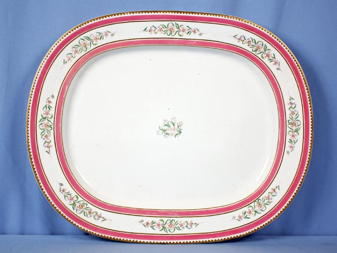 Large19th C. French Old Paris Platter Pink & Gilt