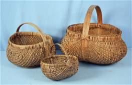 A Group of 3 Southern Buttocks Split Oak Baskets