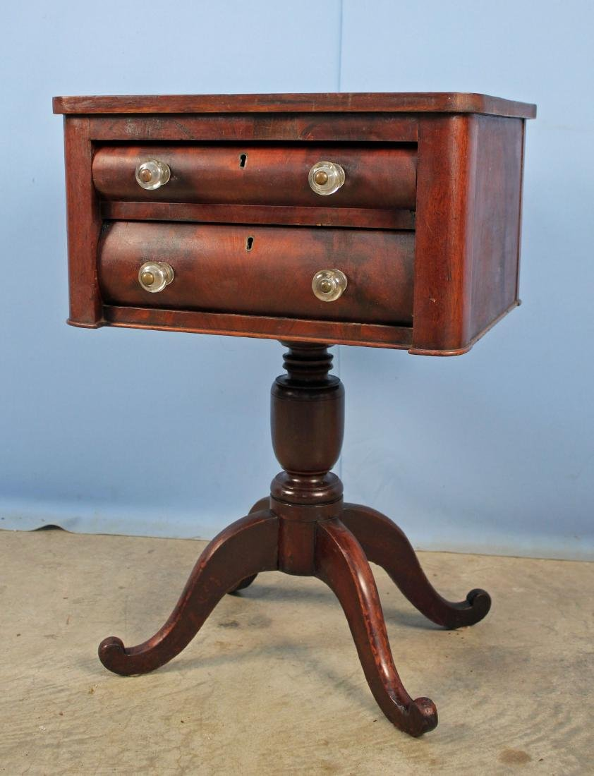 Mid 1800's Mahogany Work Table w/ Two Drawers