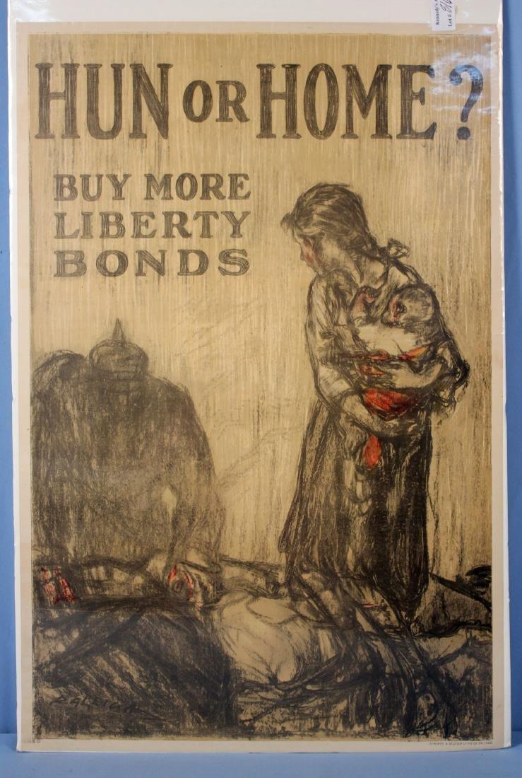 "WW I, ""Hun or Home"" Original Liberty Bonds Poster"