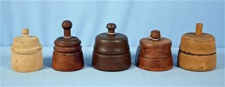 Five Wooden Butter Molds