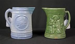2 Salt Glaze Stoneware Pitchers, Indian & Pirates
