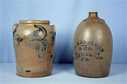 Two Pieces of Cobalt Decorated Stoneware