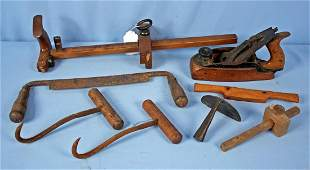 Group of Antique Tools Leather Cutter Plane Etc