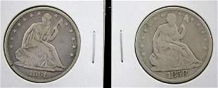 1858-O and 1861-O U. S. Silver Half Dollars