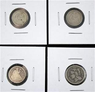 1840-O, 1841-O, 1860-O 1/2 Dime, 1865 3 Cent