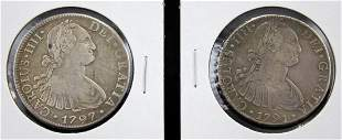 1791 and 1797 Mexican Silver 8 Reales