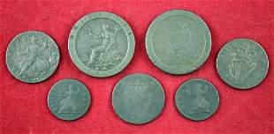 Group of 7 British/Irish coppers 1736,48,60,73, 97