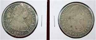1795 and 1796 Bolivia Silver 8 Reales