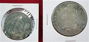 1701 France 1/2 Ecu; 1771 One Ecu;  .917 fine silv