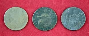 Three 1787 Connecticut Copper Cents