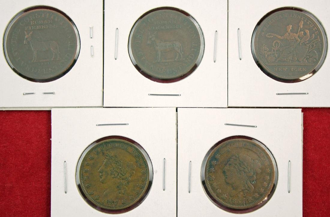 Five Hard Times tokens, 1833, 1837,