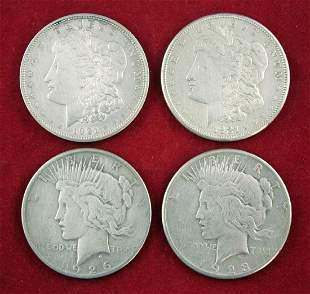 Four U.S.  Silver Dollars; 2 Peace,2 Morgans