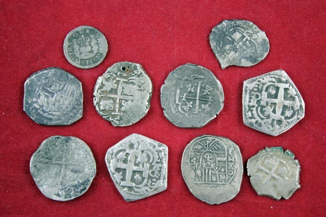 Ten Spanish minor cobs;  1,2,4 reales
